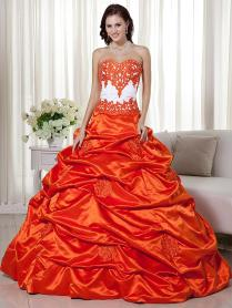 Orange White Two Tones Ball Gown Quinceanera Wedding Dresses With