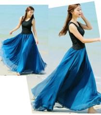 Peacock Blue Long Chiffon Skirt Maxi Skirt Ladies Silk Chiffon