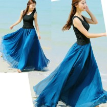 Peacock Blue Long Chiffon Skirt Maxi Skirt Ladies Silk Chiffon