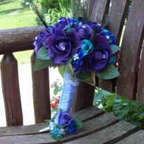 Peacock Bridal Bouquet Teal And Purple Real Touch Silk Bridal