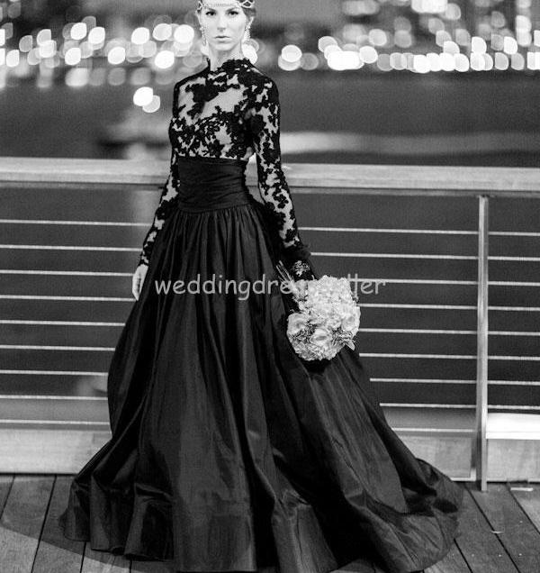 Plus Size Black 2016 Wedding Dresses With Long Sleeves Bridal
