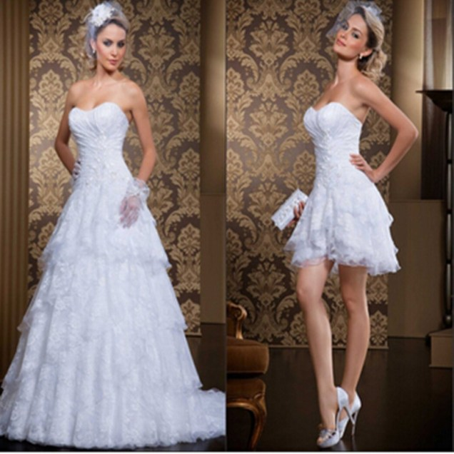 Popular 2 In 1 Wedding Dress Long And Short