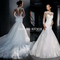 Popular Long Sleeve Lace Mermaid Wedding Dress