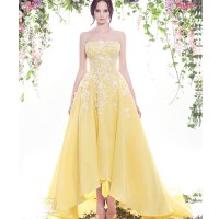 White And Yellow Wedding Dress