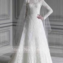 Popular Plus Size Long Sleeve High Neck Wedding Dress