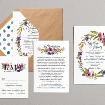 Printable Wedding Invitation Set, Laurel Wreath Floral Wedding