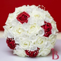 Red Cream And Black Bouquet With Pearls