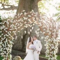 Rustic Dry Wood White Wedding Arch