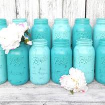 Shabby Chic Mason Jars For Wedding Decor, Vases, Centerpiece In