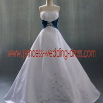 Strapless Ivory And Teal Petite Wedding Dresses 0375,princess