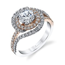 Swirl Engagement Ring Two Tone