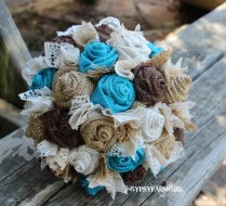 Turquoise Burlap And Lace Bride's Bouquets And By Gypsyfarmgirl
