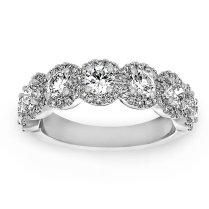 Two By London Henri Daussi Seven Stone Round Diamond Halo Wedding