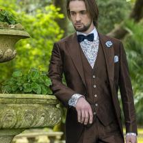 Vintage Brown Mens Suits Peaked Lapel Wedding Suits For Men