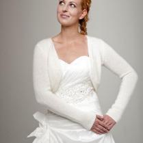 Wedding Bolero Cardigan With Ribbon Knitted Of Soft Wool Perfect