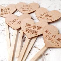 Wedding Cupcake Toppers, Rustic Cupcake Toppers, Personalized