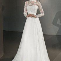 Wedding Dress Greek A Line High Neck Long Sleeves Long Chiffon