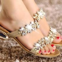 Wedding Shoes Ideas Floral Crystal Sandal Flat Wedding Shoes