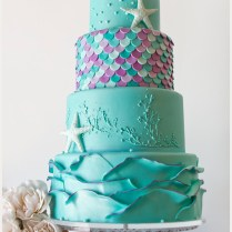 Whimsical Teal And Lavender Starfish Wedding Cake By The Pastry