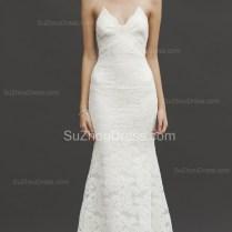 White Spaghetti Straps Lace Wedding Dresses 2017 Mermaid Beach