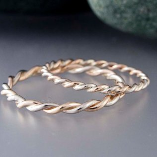Wide Two Tone Rose White Or Yellow Gold