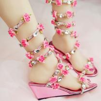 Women Wedding Sandals 2016 Crystal And Pink Flower Women Gladiator