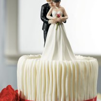 Yes To The Rose Bride & Groom Couple Porcelain Wedding Cake