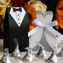 100pcs Dress & Tuxedo Wedding Party Favor Candy Box Gift [black