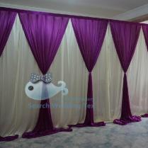 10ft 20ft White And Purple Color Wedding Decoration Drape Curtain