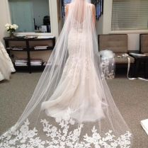 1 Layer White Ivory Cathedral Length Lace Edge Bride Wedding