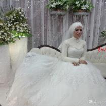 2014 Real Sample Arabian Wedding Dresses High Neck Long Sleeve