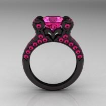310ct Pink Sapphire Diamond Engagement Ring Bridal Set 18k Black