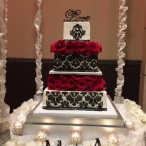 A Black And White Damask Wedding Cake