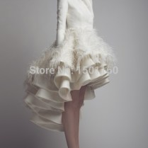 Aliexpress Com Buy High Neck Low Long Sleeve Wedding Dress Short