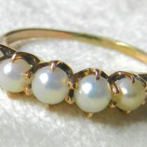 Antique Pearl Wedding Band 14k Rose Gold Victorian Pearl