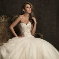 Ball Gown Sweetheart Champagne Color Tulle Wedding Dress With