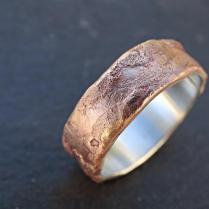 Bronze Ring Silver Band, Mens Wedding Ring Bronze, Richly