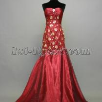 Burgundy And Gold Sweetheart Column Homecoming Dress Img 736 1st