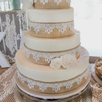 Burlap And Lace Wedding Cake …