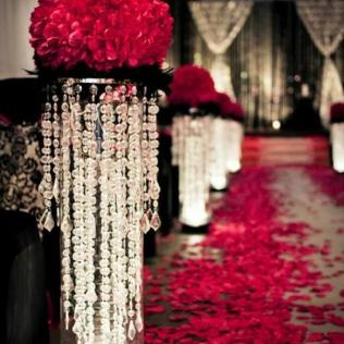 Christmas Wedding Red Rose Aisle Decor