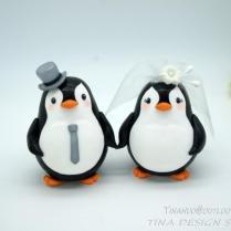 Custom Love Bird Penguin Wedding Cake Toppers