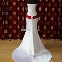 Custom Made ! Red Belt Corset Top Elegant Wedding Dress Bridal