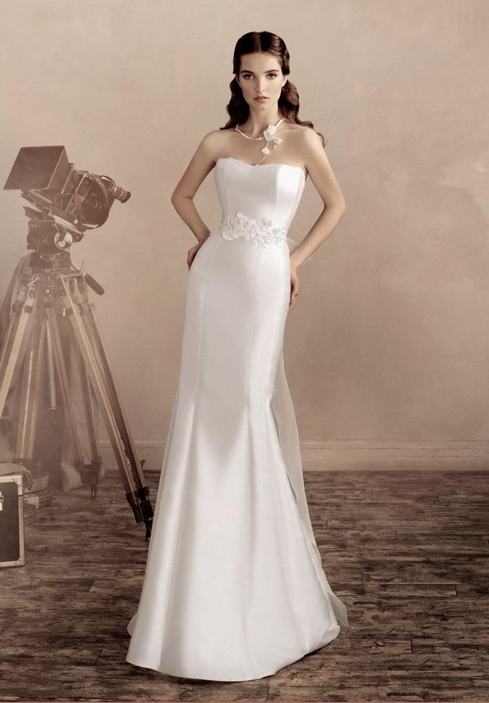 Plain White Satin Wedding Dress