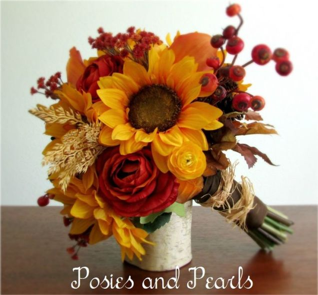 Fall Wedding Bouquets With Sunflowers