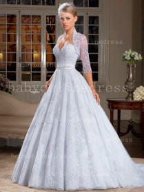 Free Shipping Lace Wedding Dresses A Line Applique Beaded Sash