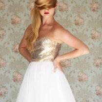 Gold Sequin Strapless Wedding Dress, Ivory Tea Length Tulle Dress