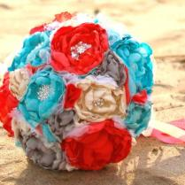 Ivory, Coral, Turquoise, Aqua, And Grey Romantic Heirloom Brooch