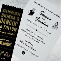 Jessica Steven's Retro Black And White Wedding Invitations