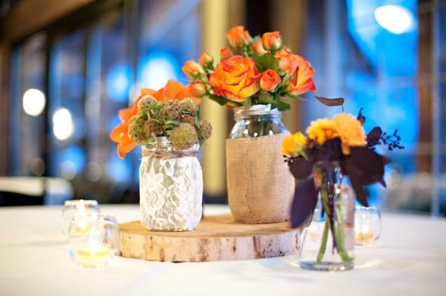 Lace Wrap Mason Jar Wedding Centerpiece Burlap Wrap Mason Jar