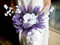Lavender And White Wedding Bouquet Fake Flowers, Magnolia